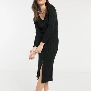 KOOKAI Ribbed Button Down Long Sleeve Midi Dress